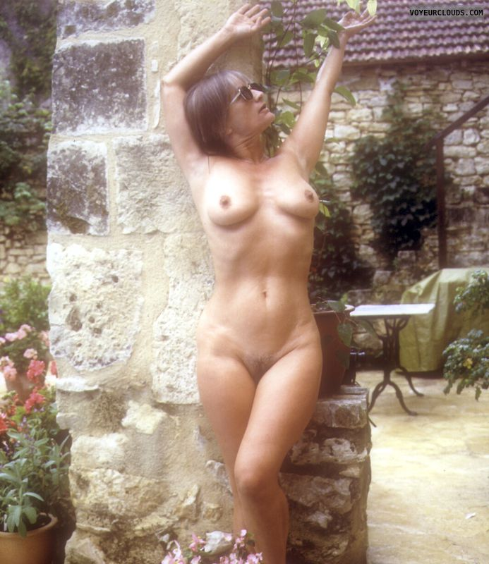 Naked, yvonne, tits hard nipples, hairy pussy, mature