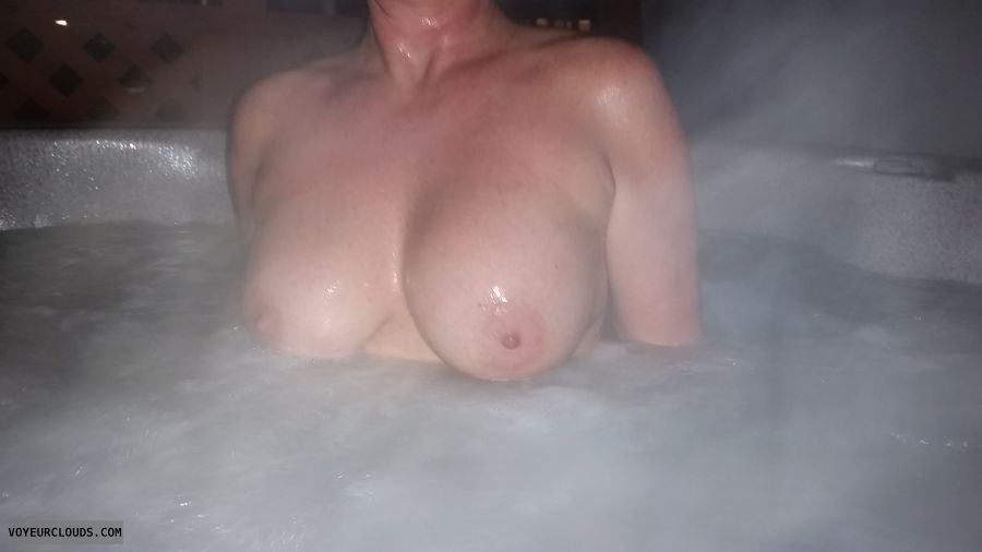 big tits, big boobs, hard nipples, Milf tits, Hot tub