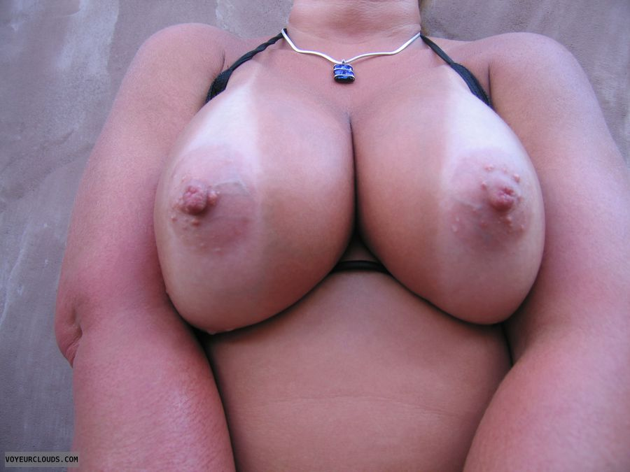 big tits, big boobs, hard nipples, Cleavage, Tan lines