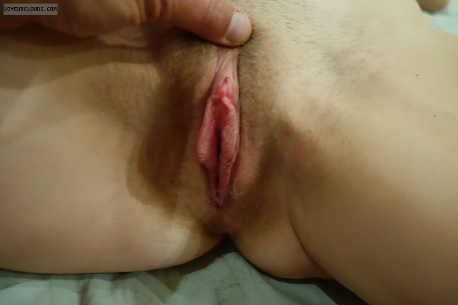wet pussy, pink pussy, trimmed bush, spread legs, horny