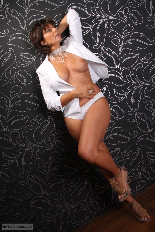 braless, hard nipples, posing, long legs, high heels
