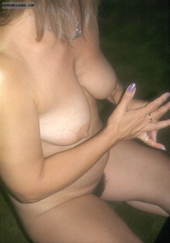 wife tits, hard nipples, hairy pussy, tanlines, yvonne