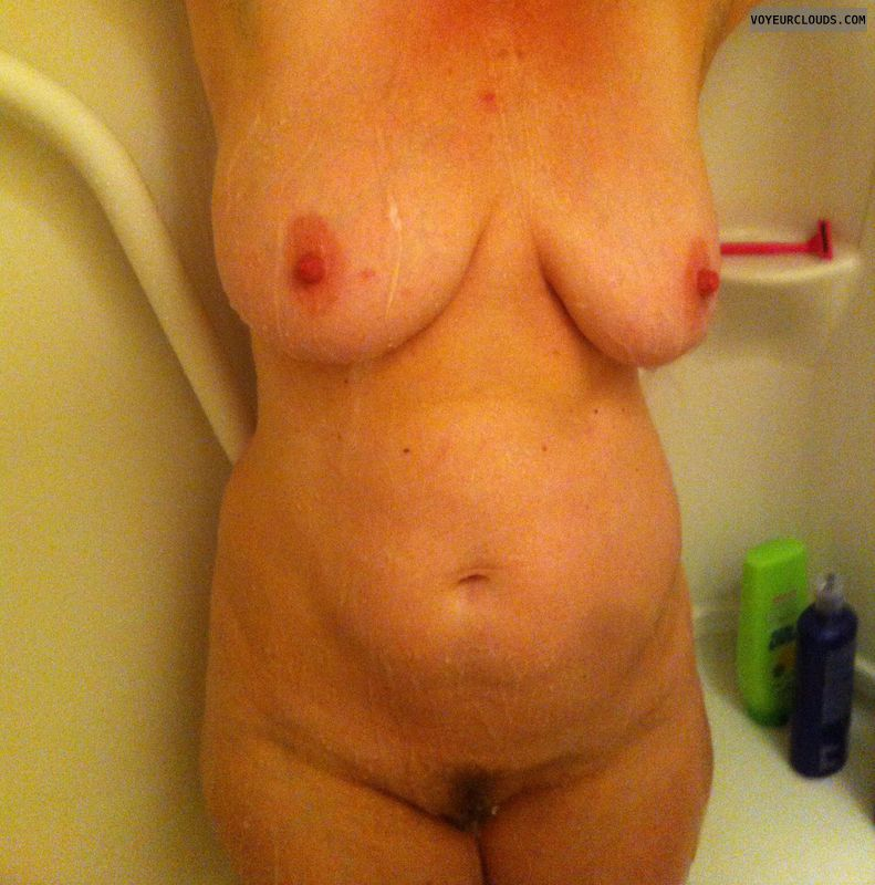 Big tits, erect nipples, big nipples, landing strip