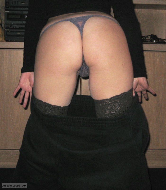 pants down, round ass, nylons, lace thong, julie