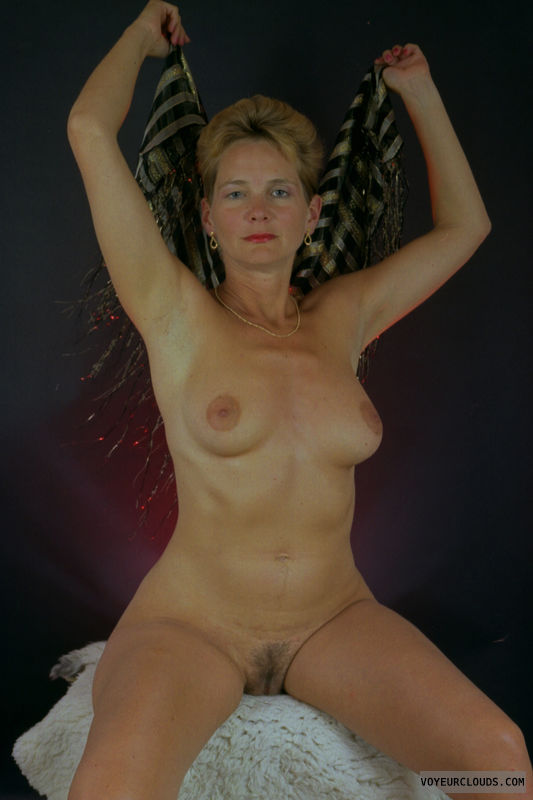 nude wife, MILF, big tits, hairy pussy, posing
