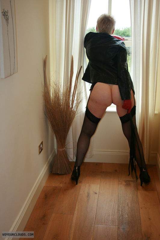 round ass, long legs, sexy lingerie, whip, leather jacket