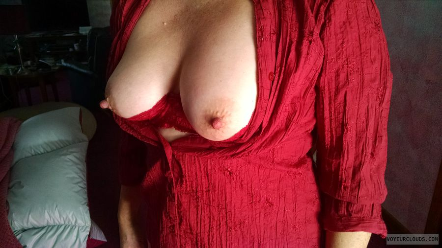 Tits, Breasts, Shelf bra, Nipples, Hard nipples, Red