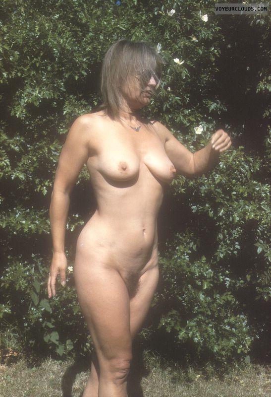 Hard nipples, big tits, yvonne, full bush, outside nude