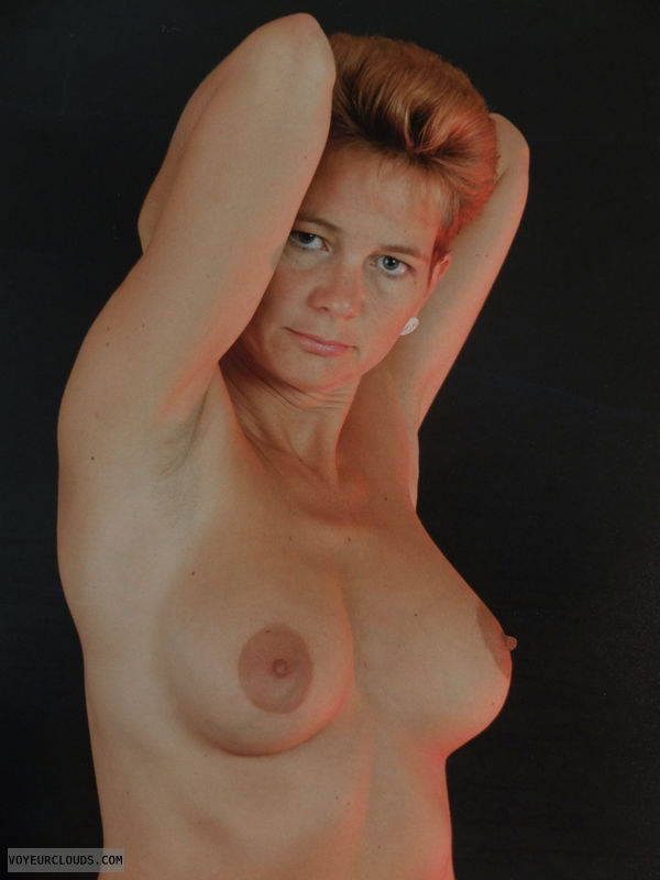topless, arms up, big tits, hard nipples, beautiful woman