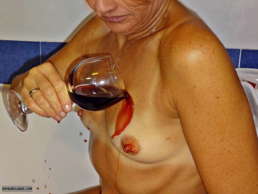 small tits, hard nipples, wine, teasing, bath, nude woman