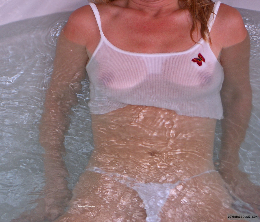 Hot Tub, Small Tits, Wet, Nipples, Water, Wet Shirt