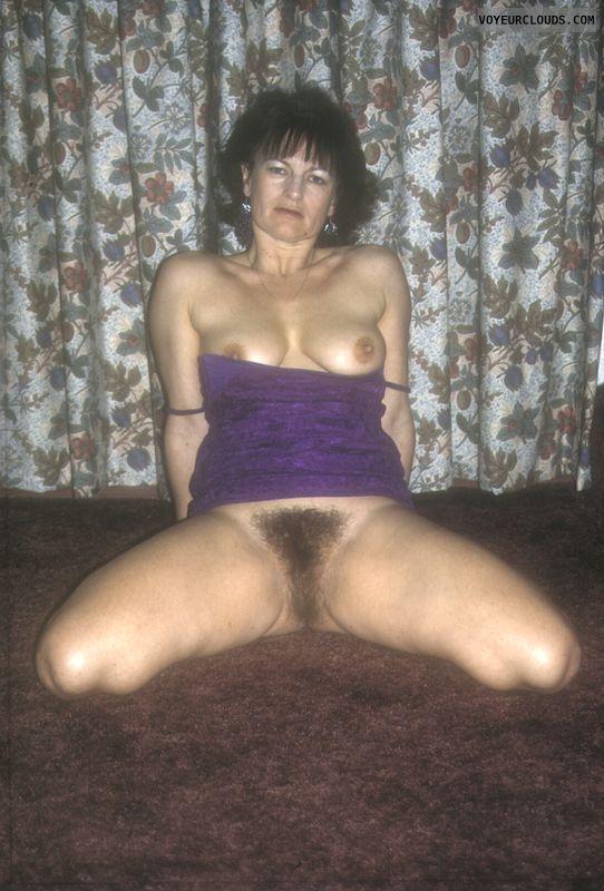 Full bush, yvonne, big breasts, hard nipples, party dress