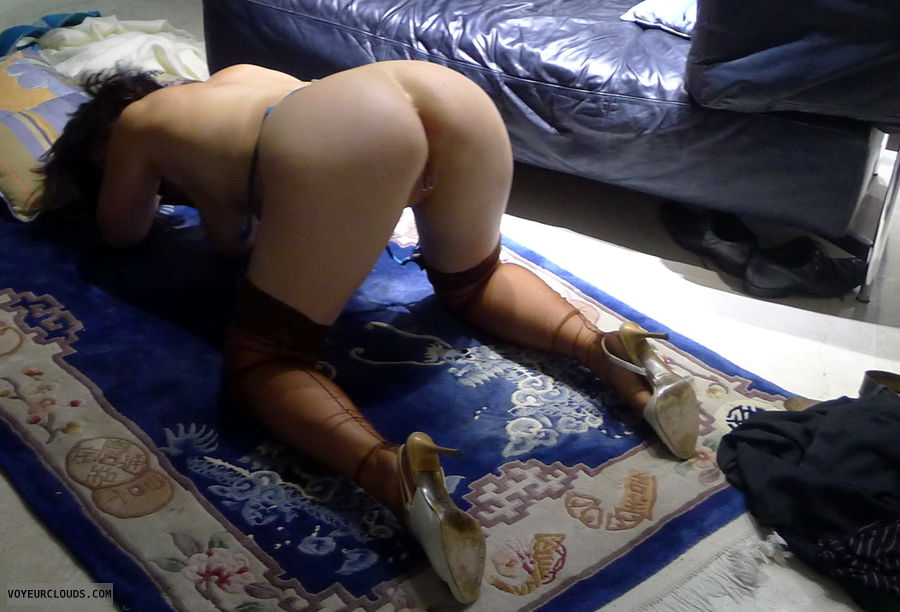 just before, open pussy, big ass, nylons, doggy