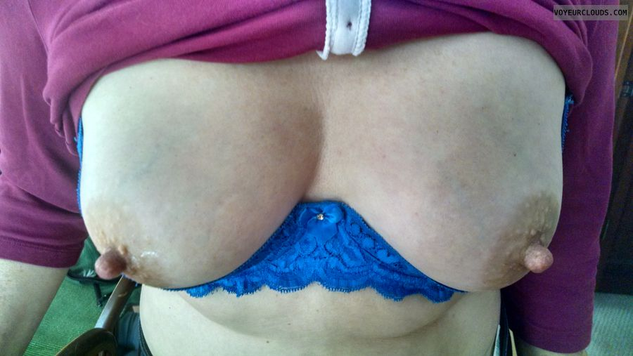 hard nipples, tits out, blue bra, selfie