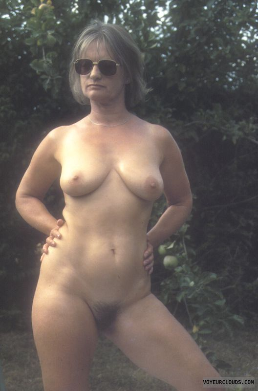 Naked outdoors, yvonne, hairy pussy, mature, tits