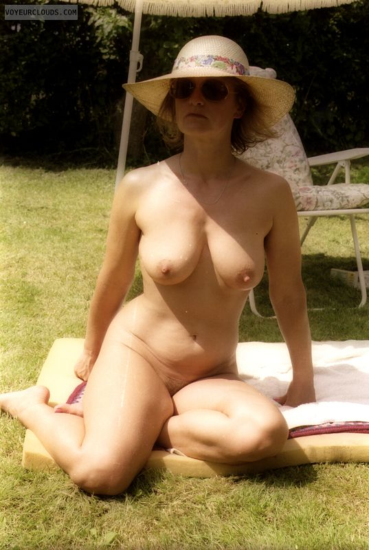 hard nipples, naked in the sun, mature, milf, nude