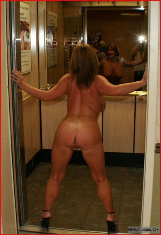 nude female in elevator