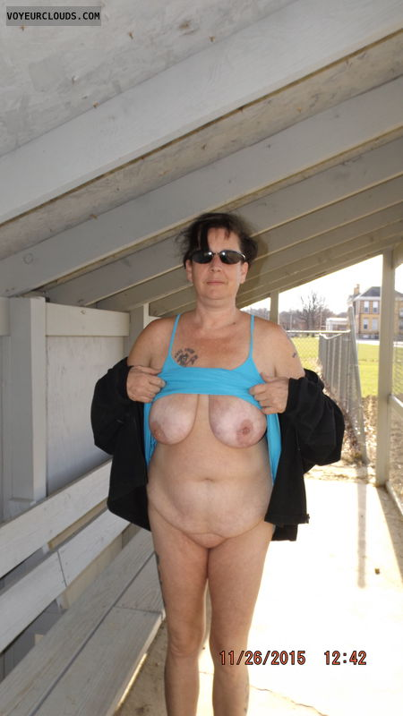 naked outside, naked in public, flashing, frontal nudity