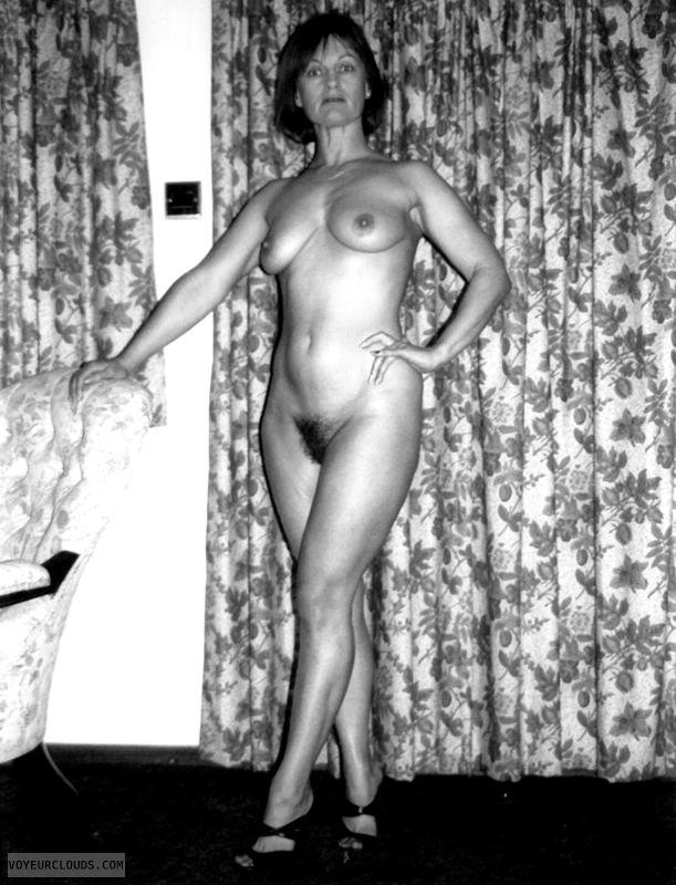 High heels, hairy pussy, yvonne, tits, nipples, legs