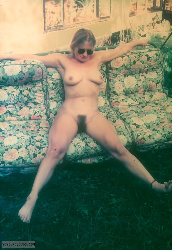 open legs, yvonne, hairy pussy, tits, nude, naked