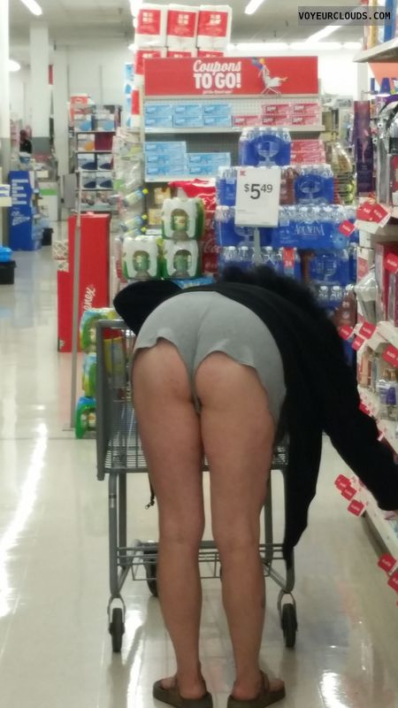 shopping, bent over, Short shorts, ass, public, exposed ass