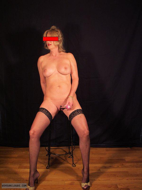 Shaved pussy, masturbation, dildo, solo play, hard nipples