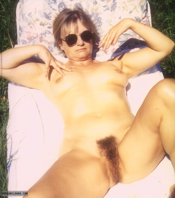 Hairy pussy, yvonne, open legs, mature, tits, naked