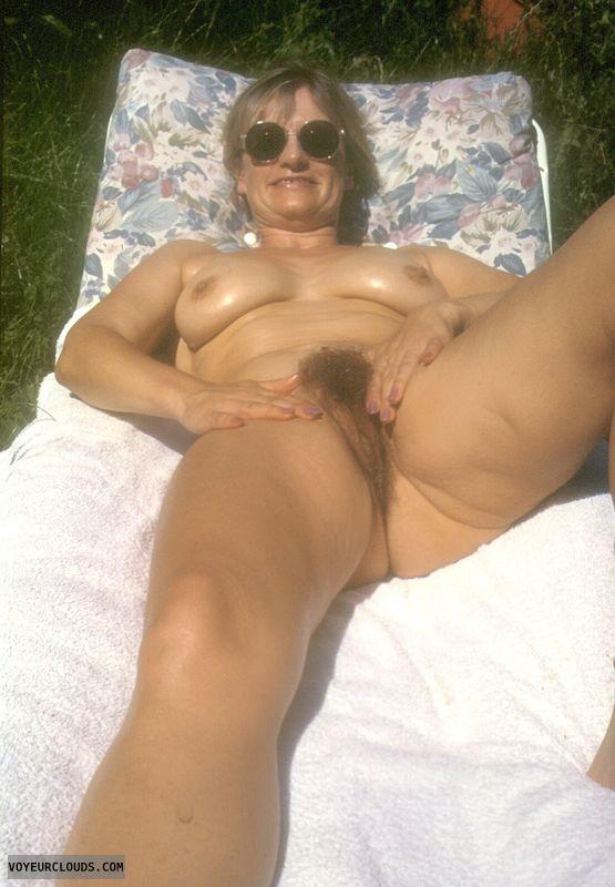 Hairy pussy, open legs, yvonne, tits, hard nipples