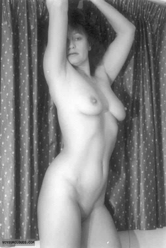 shaved pussy, yvonne, tits, hard nipples, blackand white