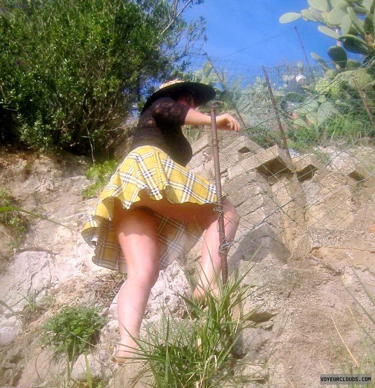 upskirt, nude under skirt, pantyless