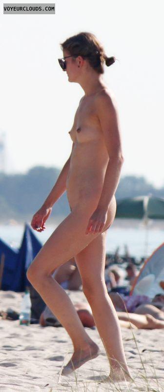 beach voyeur, nude woman, small tits, hard nipples