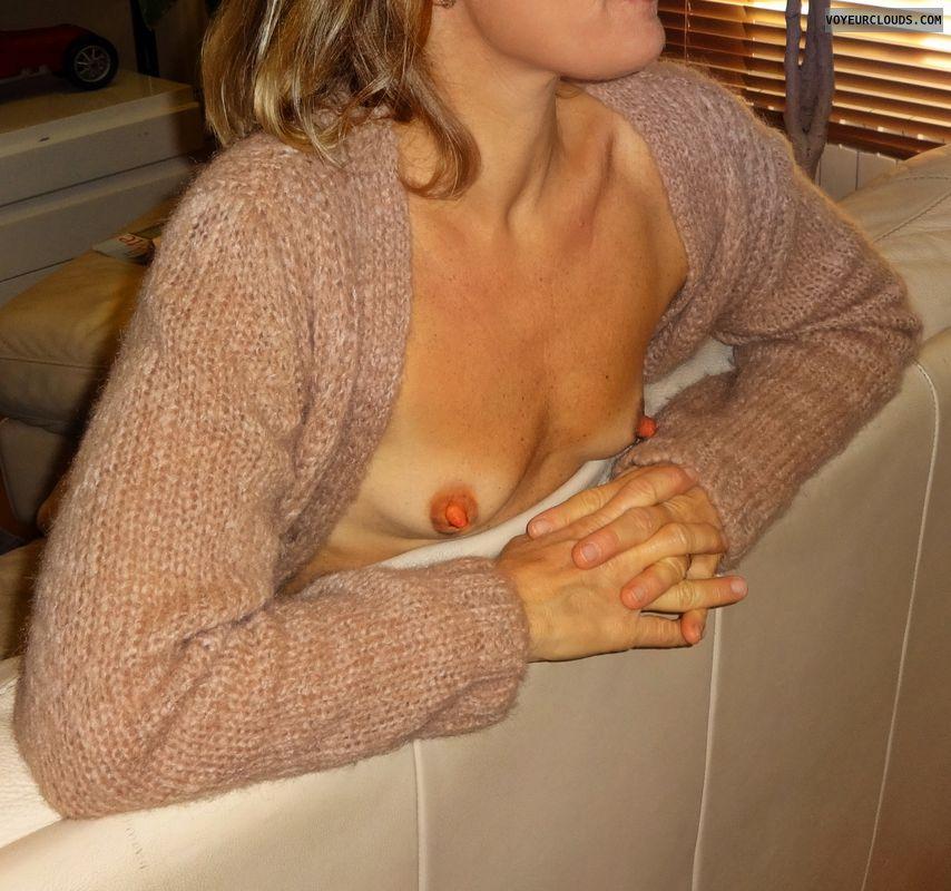 wife tits, hard nipples, braless, small tits