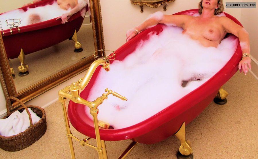 medium tits, hard nipples, wet skin, bubble bath, sexy smile