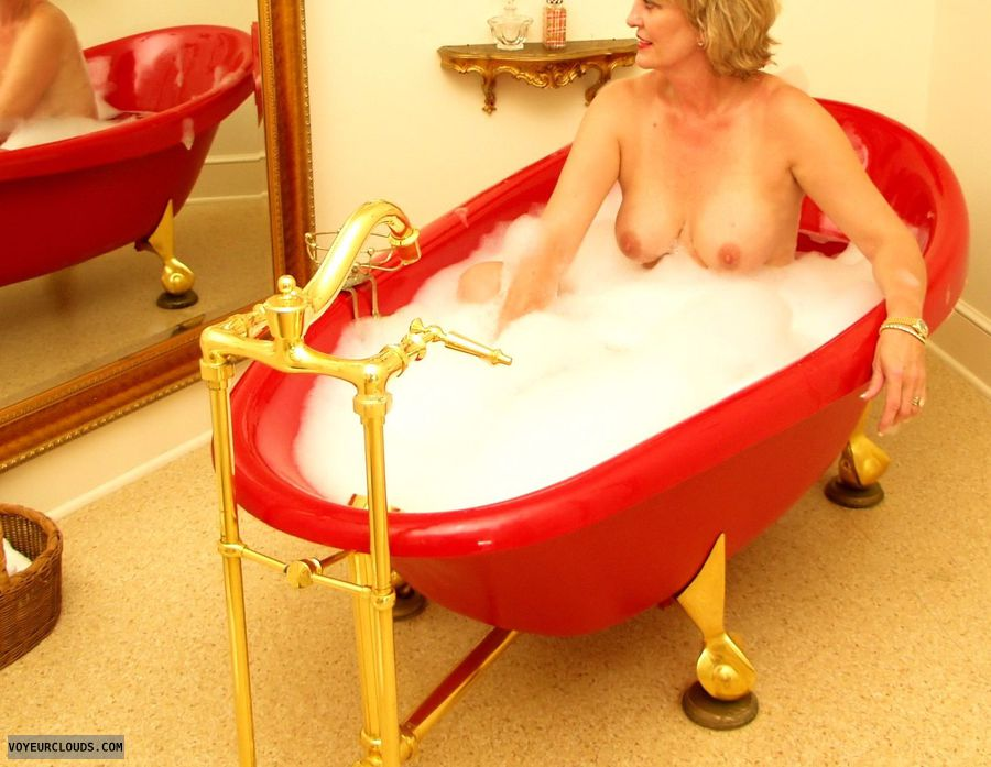 medium tits, hard nipples, wet skin, bubble bath, tanlines