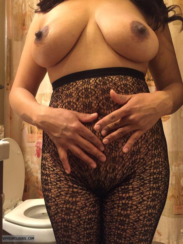 topless, hard nipples, big boobs, lace panties