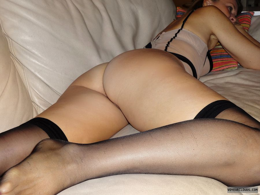 anna, wife, lingerie, stockings, pussy peek