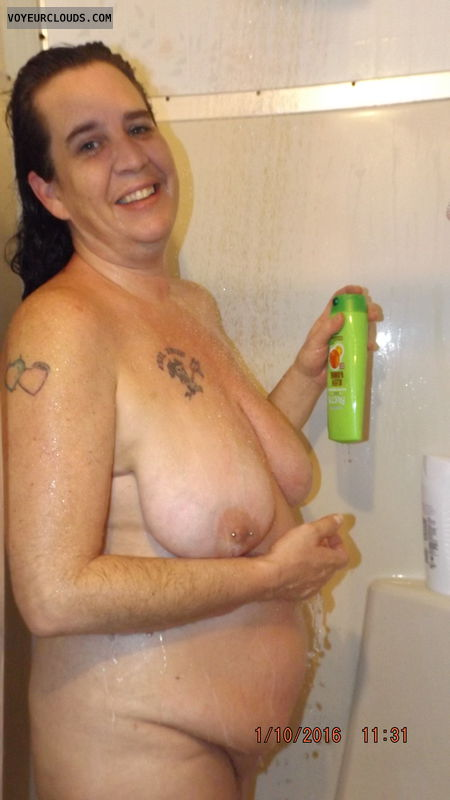 shower, milf, wife, naked, tits, wet body, hangers