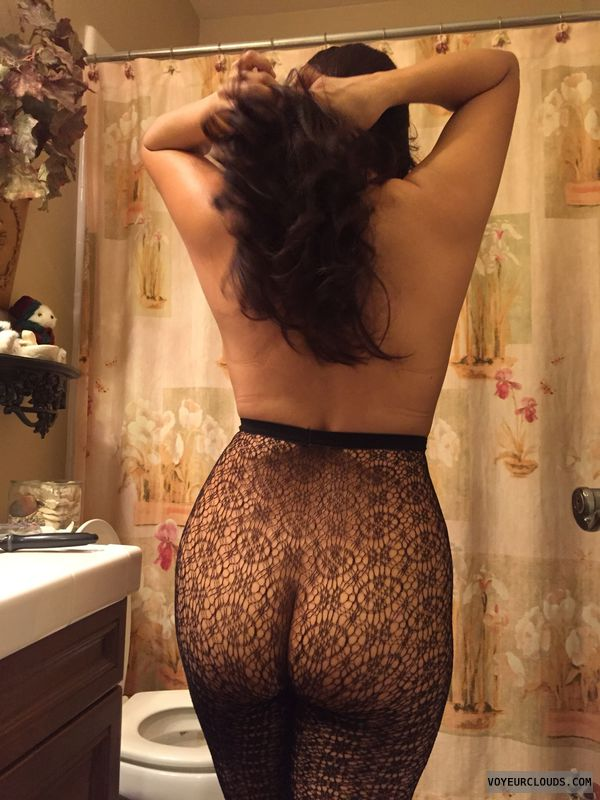 black lace, sexy lingerie, round ass, topless, posing