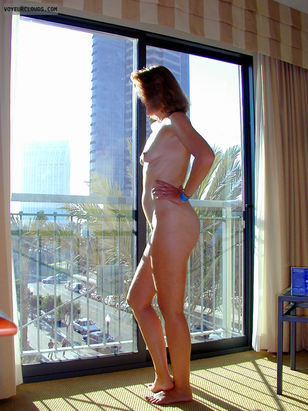 Completely Nude, Hotel Window, Hotel Room, Exhibitionism