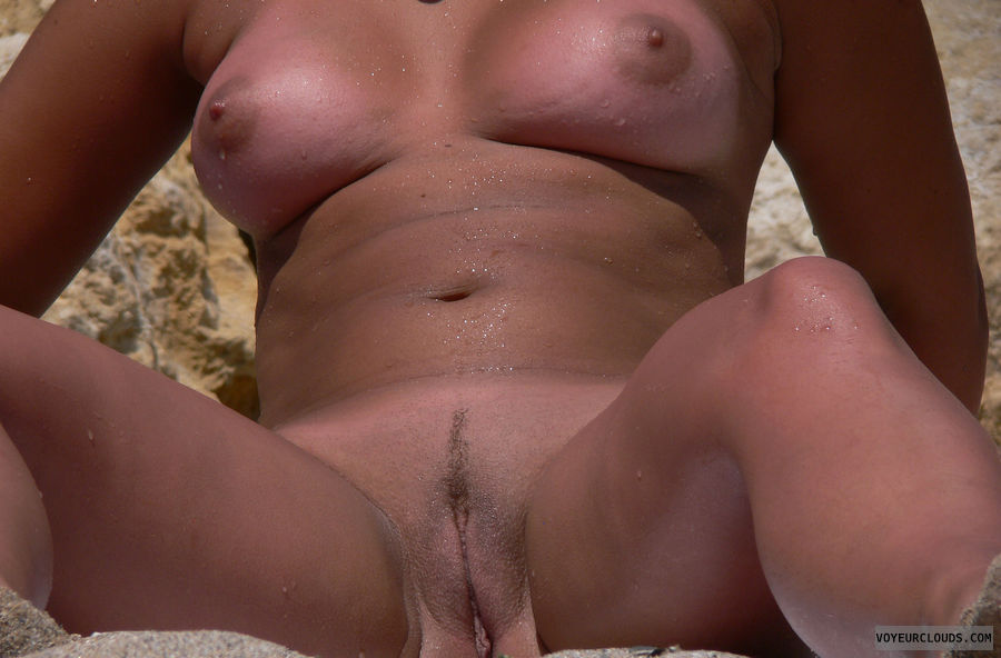 beach voyeur, hard nipples, shaved pussy, legs open