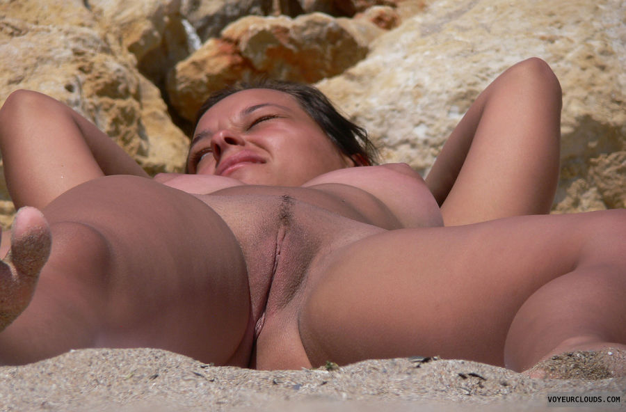 beach voyeur, shaved pussy, legs open, sunbathing