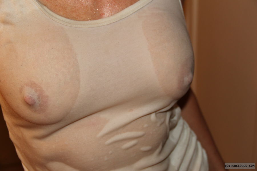 hard nipples, see-thru, wet t-shirt, medium boobs