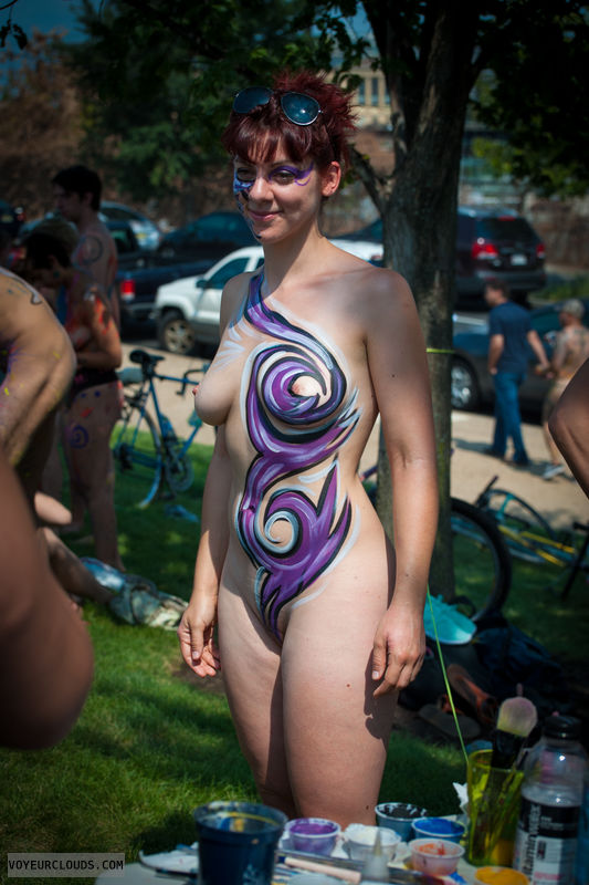 wnbr, shaved pussy, body paint, medium boobs, hard nipples