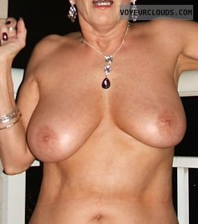wife tits, hard nipples, topless, posing
