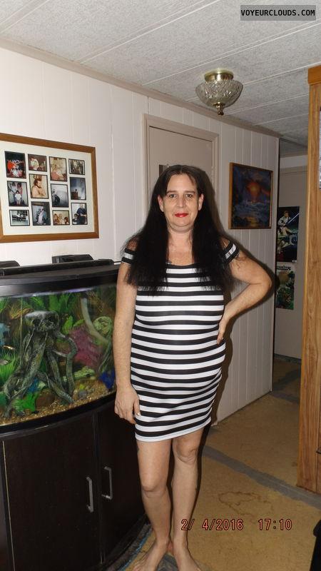 stripped dress, birthday gift, wife, milf, tight dress