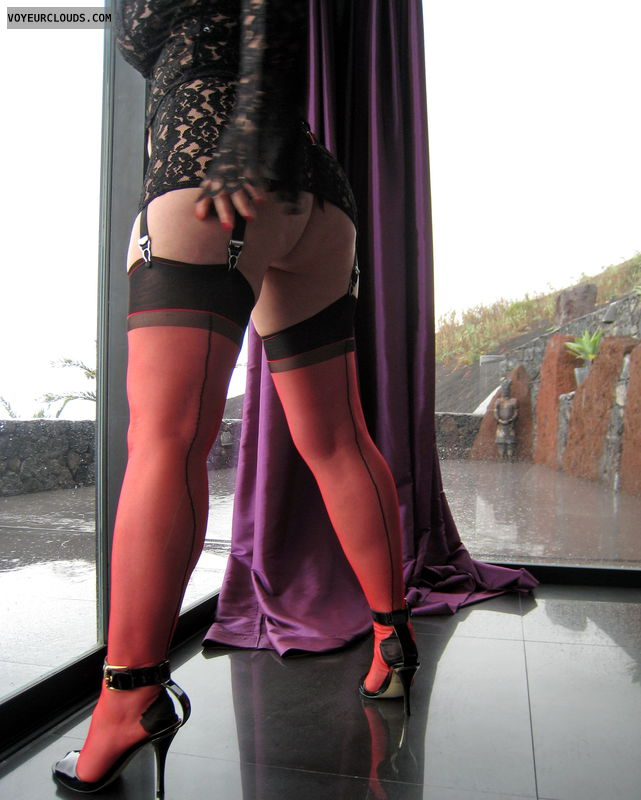 red nylons, round ass, nothing but lingnerie, fuck me heels