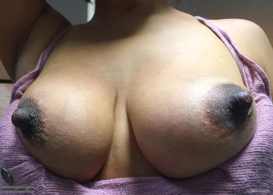 hard nipples, dark areolas, tits out, braless, selfie