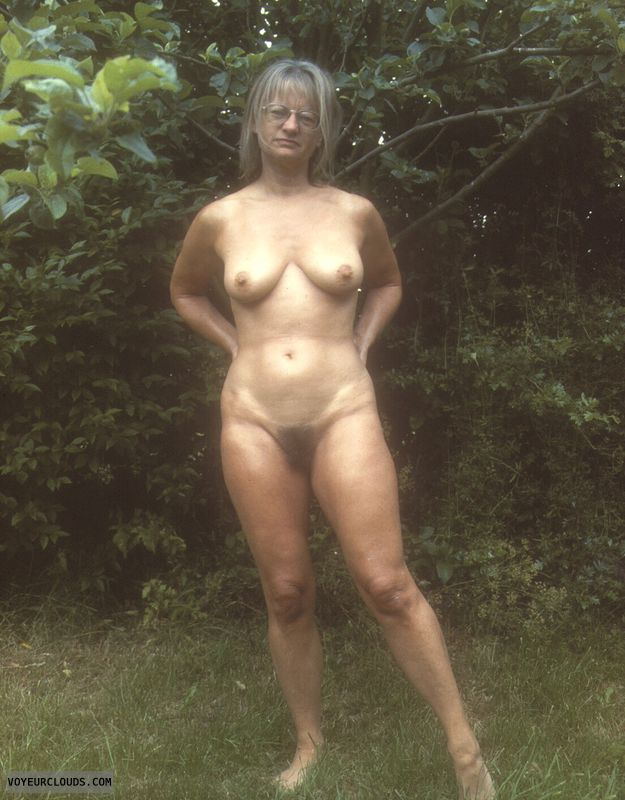 naked outside, yvonne, tits, hard nipples, hairy pussy