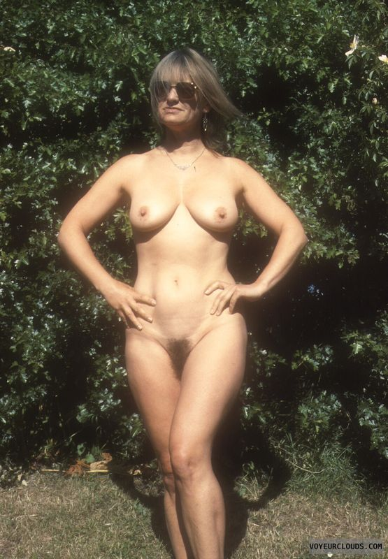 Hard nipples, yvonne, hairy pussy, mature, tits, outside nude