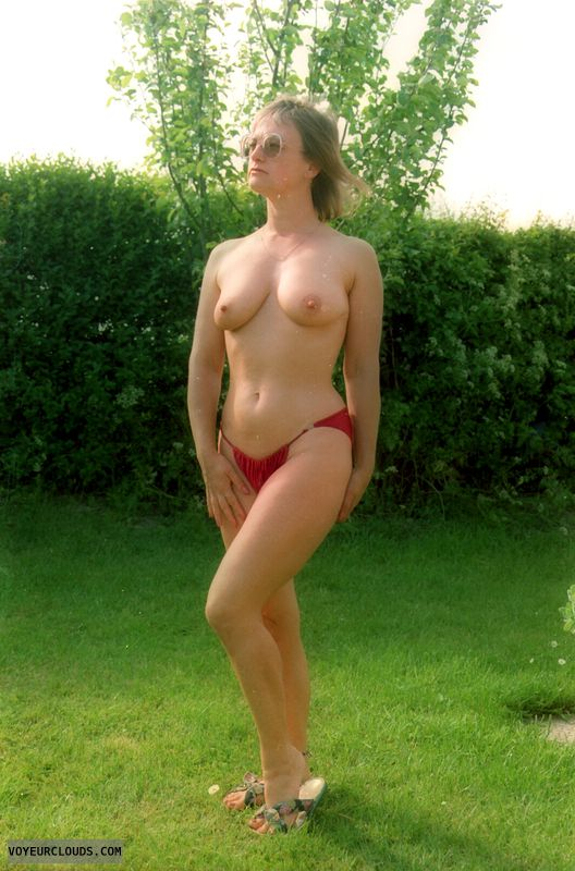 Red bikini bottom, yvonne, tits, legs, nipples, mature
